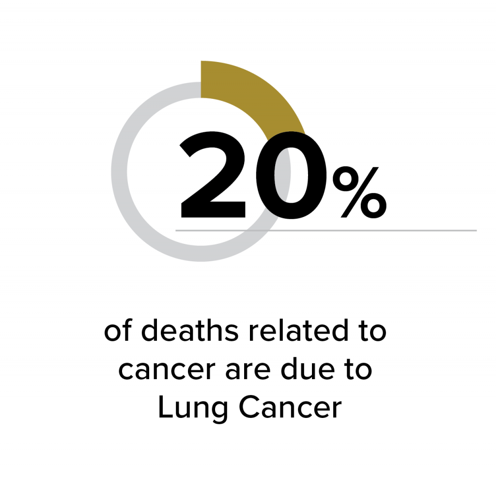 20% of cancer deaths are lung cancer