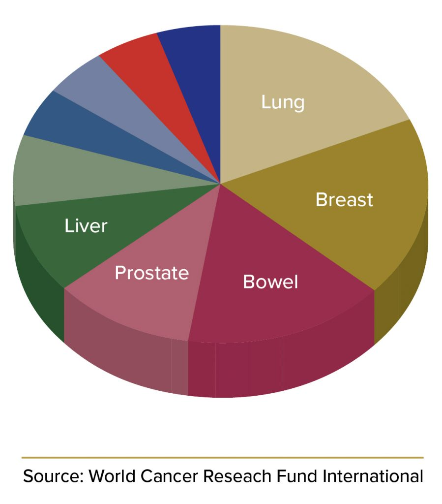 Pie chart for diagnosed cancer cases