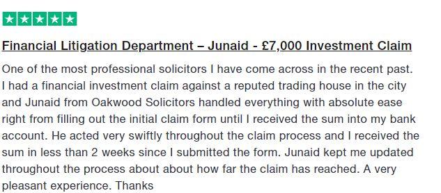 Trustpilot Testimonial - Junaid Sohail